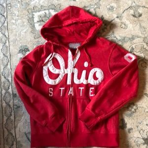 Tops - Ohio state full zip stitched fleece hoodie, Small